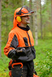 Retrato de uma guarda florestal na floresta Foto de Stock