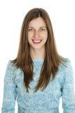 Retrato de uma jovem mulher bonita em um vestido de turquesa no whit Foto de Stock