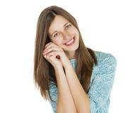 Retrato de uma jovem mulher bonita em um vestido de turquesa no whit Imagem de Stock