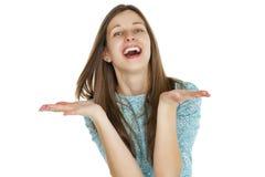 Retrato de uma jovem mulher bonita em um vestido de turquesa no whit Fotos de Stock