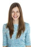 Retrato de uma jovem mulher bonita em um vestido de turquesa no whit Foto de Stock Royalty Free