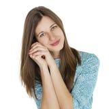 Retrato de uma jovem mulher bonita em um vestido de turquesa no whit Fotografia de Stock