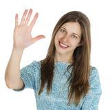 Retrato de uma jovem mulher bonita em um vestido de turquesa no whit Imagens de Stock