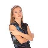 Retrato de uma jovem mulher bonita que levanta com vidros Imagens de Stock Royalty Free