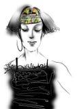 Retrato de uma jovem mulher com cabelo cinzento e vestir um vestido preto Imagens de Stock Royalty Free