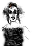 Retrato de uma jovem mulher com cabelo cinzento e vestir um vestido preto Foto de Stock