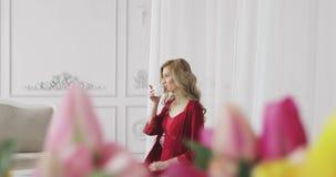 Retrato de uma jovem mulher em um chá bebendo da manhã do roupa interior vermelho video estoque