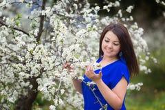 Retrato de uma jovem mulher que guarda uma refeição matinal da árvore de ameixa de florescência no jardim, sorrindo felizmente Imagem de Stock Royalty Free