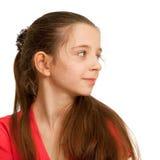 Retrato de uma menina bonita do brunett no vermelho Imagem de Stock Royalty Free