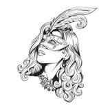 Retrato de uma menina bonita em uma máscara do carnaval ilustração do vetor