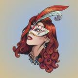 Retrato de uma menina bonita em uma máscara do carnaval Imagem de Stock