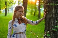 Retrato de uma menina bonita em um vestido no por do sol Menina no S Foto de Stock