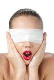 Retrato de uma menina cega imagem de stock