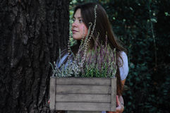 Retrato de uma menina com urze Foto de Stock