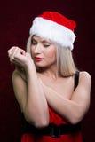 Retrato de uma menina de Santa com olhos fechados Imagem de Stock Royalty Free