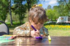 Retrato de uma menina do desenho Imagens de Stock Royalty Free