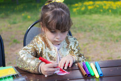 Retrato de uma menina do desenho Imagem de Stock