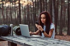 Retrato de uma menina do moderno que usa um smartphone ao sentar-se em um banco de madeira com o portátil aberto no outono bonito foto de stock