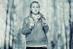 Retrato de uma menina em tons frios Fotos de Stock