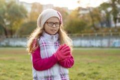 Retrato de uma menina feliz 7 anos velha, em um chapéu feito malha, vidros, fundo ensolarado do outono fotografia de stock