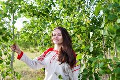 Retrato de uma menina no campo e em uma floresta nova no verão Imagem de Stock