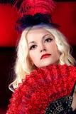 Retrato de uma menina no estilo do vermelho de Moulin Fotografia de Stock