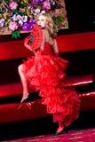 Retrato de uma menina no estilo do vermelho de Moulin Imagem de Stock Royalty Free