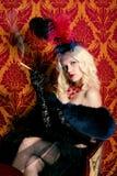 Retrato de uma menina no estilo do vermelho de Moulin Fotografia de Stock Royalty Free
