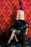 Retrato de uma menina no estilo do vermelho de Moulin Imagem de Stock