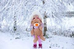 Retrato de uma menina no inverno com o sol em um chapéu forrado a pele imagem de stock royalty free