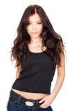 Retrato de uma menina nova do cabelo preto Fotografia de Stock Royalty Free