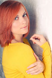 Retrato de uma menina vermelho-de cabelo bonita Imagens de Stock