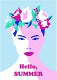Retrato de uma moça na grinalda floral do verão Cara tirada mão no vetor ilustração royalty free