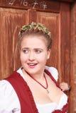 Retrato de uma moça no traje tradicional com mantilha Imagens de Stock Royalty Free