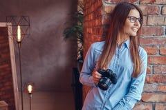 Retrato de uma morena encantador em um estúdio Fotos de Stock Royalty Free