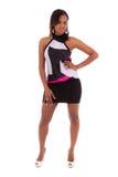 Retrato de uma mulher afro-americano bonita nova - peo preto Imagens de Stock Royalty Free