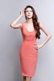 Retrato de uma mulher atrativa nova com cabelo marrom longo bonito Foto de Stock