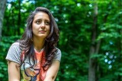 Retrato de uma mulher bonita com cabelo marrom Fotografia de Stock