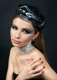Retrato de uma mulher bonita com composição Fotografia de Stock