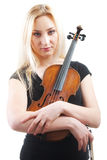 Retrato de uma mulher bonita com violine Fotografia de Stock Royalty Free