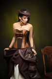 Retrato de uma mulher bonita do steampunk Imagem de Stock Royalty Free