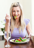 Retrato de uma mulher charming que come uma salada imagem de stock royalty free