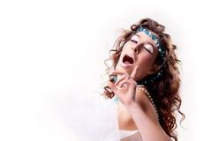 Retrato de uma mulher com cintilação imagens de stock royalty free