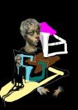 Retrato de uma mulher, com formas coloridas Imagem de Stock
