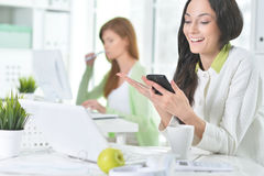 Retrato de uma mulher de negócio agradável com um portátil Fotografia de Stock
