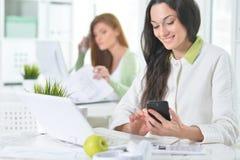 Retrato de uma mulher de negócio agradável com um portátil Imagem de Stock Royalty Free