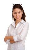 Retrato de uma mulher de negócios consideravelmente nova Fotos de Stock Royalty Free