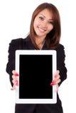 Retrato de uma mulher de negócio asiática bonita nova que guardara Ta Imagem de Stock Royalty Free