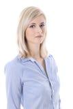 Retrato de uma mulher de negócio nova isolada loura na blusa azul Imagens de Stock Royalty Free