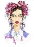 Retrato de uma mulher elegante ilustração royalty free